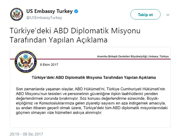 U Andan Itibaren Geerli Olmak Zere Trkiyedeki Tm ABD Diplomatik Misyonlarndaki Gmen Olmayan Vize Hizmetleri Askya Alnmtr
