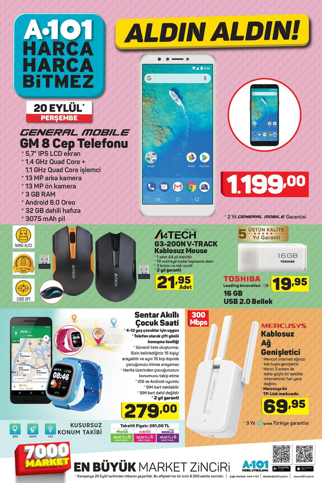 A101 27 Eylül Kataloğu – Toshiba Smart Tv, Cep Telefonu