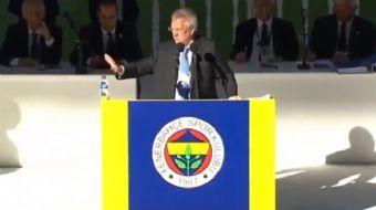 Aziz Yıldırım, Fenerbahçe'nin Seçimli Olağan Genel Kurulu'ndaki konuşması esnasında kendisine getiri