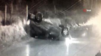Kartal'da kontrolden çıkarak defalarca takla atan aracın içinde bulunan iki kişi araçtan sağ çıktı.