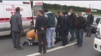 Basın ekspres yolunda bir kadın kendini seyir halindeki araçtan aşağıya attı. Arkadan gelen araçları