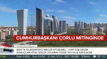 Kanal İstanbul´un animasyonu ilk kez Cumhurbaşkanı Erdoğan´ın mitinginde yayınlandı