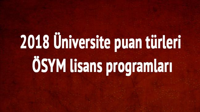 2018+%C3%BCniversite+puan+t%C3%BCrleri+-+%C3%96SYM+lisans+programlar%C4%B1