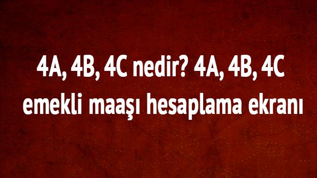 4A, 4B, 4C nedir? Emekli maaşı hesaplama ekranı 4A, 4B, 4C ne zaman emekli olurum