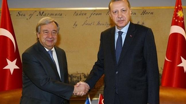 Cumhurbaşkanı Erdoğan, Birleşmiş Milletler Genel Sekreteri Guterres ile telefonda görüştü