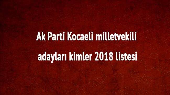 Kocaeli Ak Parti milletvekili adayları kimler Ak Parti Kocaeli 2018 milletvekili listesi son dakika