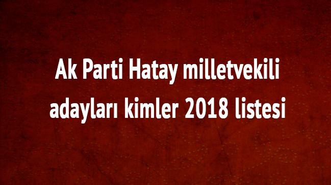 2018 Hatay milletvekili adayları kimler Ak Parti Hatay milletvekili listesi son dakika