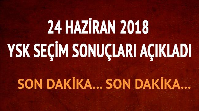 YSK son dakika 2018 seçim sonuçları Ak Parti CHP MHP HDP milletvekili cumhurbaşkanı oy oranları