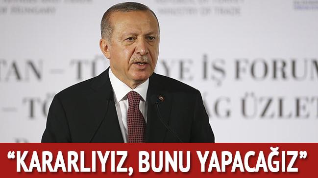 Başkan Erdoğan: Kararlıyız, bunu yapacağız