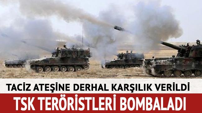 Taciz ateşine derhal karşılık verildi: TSK teröristleri bombaladı