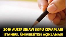 Son dakika - 2019 AUZEF sınavı soru cevapları son dakika İstanbul Üniversitesi açıklaması